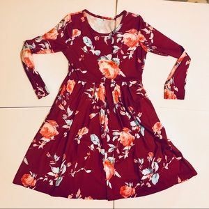 ZESICA long sleeve floral swing dress